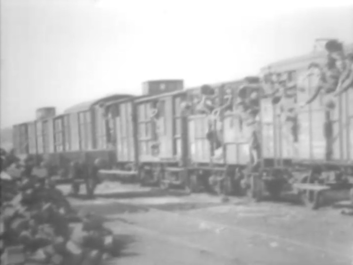 Here is a fuzzy picture of a trainload of U.S. soldiers near St. Nazaire France