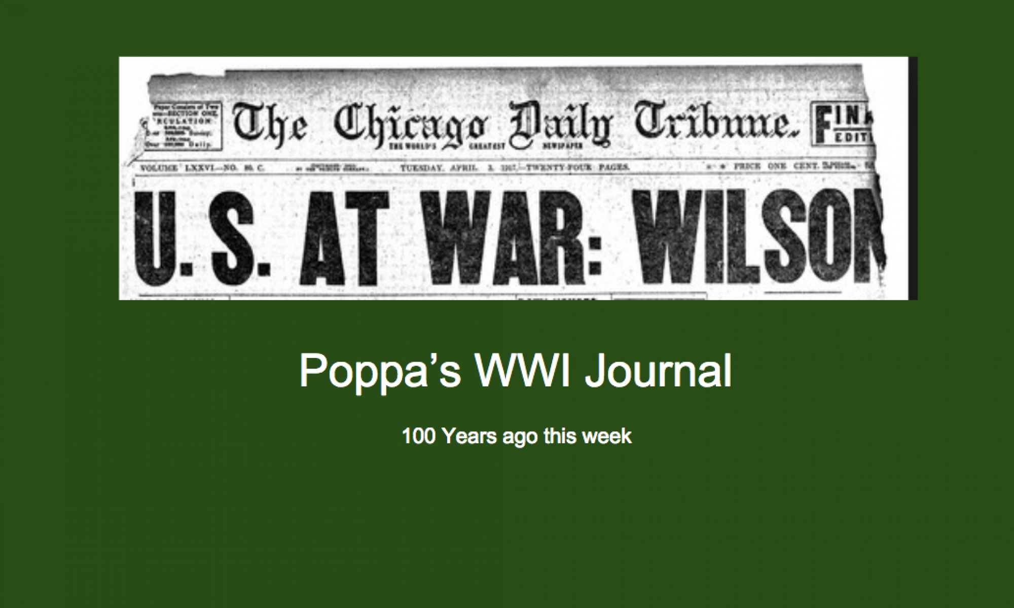 Poppa's WWI Journal